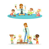 Teacher with kids learning about plants during biology lesson. Cartoon detailed colorful Illustrations isolated on white. Teacher with kids learning about plants Stock Photography