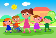 Teacher with kids near school. Cartoon teacher or baby-sitter with boys, girls and disabled kid near school, vector illustration Royalty Free Stock Image