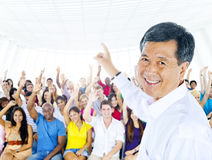 Teacher and large group of student in Lecture room Stock Image