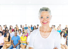 Teacher and Large Group of Student in Lecture Room Stock Photos