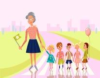 Teacher lead Kids cross the Street to School, Kindergarten, Preschoo?. Education Concept.Vector Character Illustration. Royalty Free Stock Photos