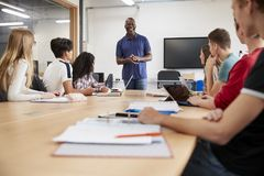 Teacher In Lesson For College Students Studying CAD/3D Design royalty free stock images