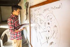 Teacher in lesson at Jagadguru School. Royalty Free Stock Images