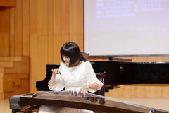 Teacher lijing of xiamen university playing zither Stock Photography