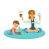 Teacher and little boy learning about plants during botany lesson, preschool educational activities cartoon vector Stock Image