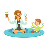 Teacher and little boy sitting on the floor and learning about plants during botany lesson, preschool educational Stock Photography