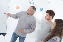 Teacher looking at flip chart with students. Teacher stock image
