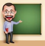 老教授Teacher Man Vector谈话的Character讲话或 免版税库存图片