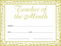 Teacher of the Month Certificate with  version available Royalty Free Stock Photography