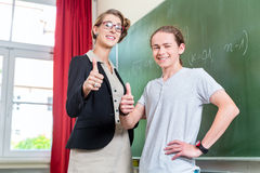 Teacher motivating students in school class Royalty Free Stock Image