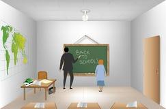 Teacher near blackboard in classroom. Vector Stock Images