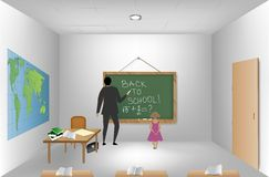 Teacher near blackboard in classroom. Vector Stock Photo