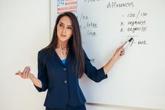 Teacher near whiteboard explains the rules. Learn foreign language. royalty free stock images