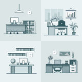 Teacher office student room workplace table chair. Interior indoor set. Linear mono color stroke outline flat style vector icons. Monochrome icon collection Stock Photos