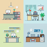 Teacher office student room workplace table chair. Interior indoor set. Linear multicolor stroke outline flat style vector icons. Color icon collection Royalty Free Stock Photography