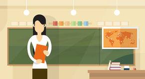 Teacher Over Class Board Classroom Woman With Book Lesson Flat Design Stock Image