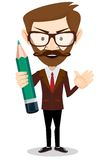 Teacher with a pencil to correct and study, vector illustration Royalty Free Stock Photo