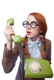 Teacher with phone Royalty Free Stock Photography