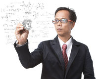 Teacher and physic formulas Royalty Free Stock Photography