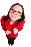 A teacher with a pointer. On an isolated background Royalty Free Stock Photography