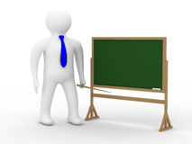 Teacher with a pointer at a blackboard. Royalty Free Stock Photos