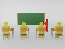 Teacher with pointer at blackboard Stock Images