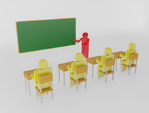 Teacher with pointer at blackboard Stock Photo