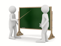 Teacher with pointer at blackboard. Isolated 3D Stock Photo