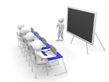 Teacher with pointer at blackboard Stock Image