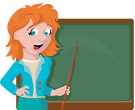 Teacher with a pointer near the board royalty free stock image