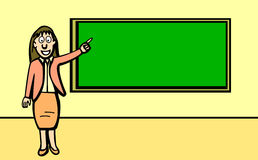 Teacher pointing at black board vector Royalty Free Stock Photo