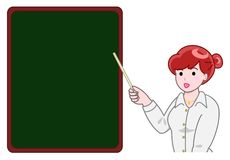 Teacher pointing a blackboard. Female teacher pointing a blackboard vector illustration
