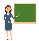 Teacher pointing on chalckboard Royalty Free Stock Images