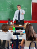 Teacher Pointing At Students In Classroom Royalty Free Stock Photo