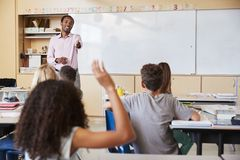 Teacher pointing to girl with hand raised in school class stock images