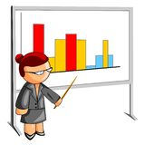 Teacher pointing to a histogram Royalty Free Stock Photography
