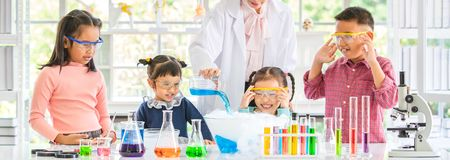 Teacher pour chemicals into glass bowl in lab royalty free stock images