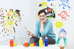 Teacher In Pre School Art Class Royalty Free Stock Images