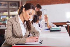 Teacher preparing lesson Royalty Free Stock Image