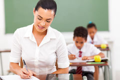 Teacher preparing lessons Royalty Free Stock Photography