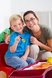 teacher and preschooler Royalty Free Stock Image