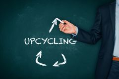 Upcycling concept. Teacher present upcycling - creative reuse and transforming products stock images