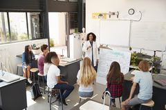 Teacher presenting to high school science pupils, high angle Royalty Free Stock Photography