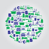 Teacher profession and teaching icons in circle Royalty Free Stock Images