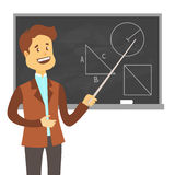 Teacher, professor standing in front of blank school blackboard vector illustration. School male teacher near blackboard Royalty Free Stock Images