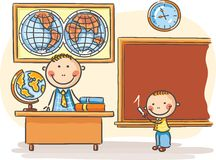 Teacher and a pupil at the lesson Stock Image