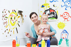 Teacher And Pupil In Pre School Art Class Royalty Free Stock Image