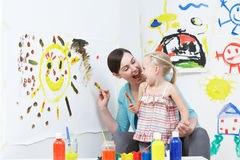 Teacher And Pupil In Pre School Art Class Royalty Free Stock Photo