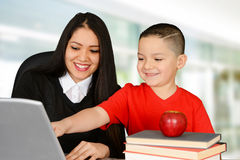 Teacher and pupil Royalty Free Stock Image