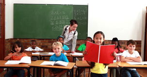 Teacher and pupils all smiling at camera during class. In elementary school stock footage